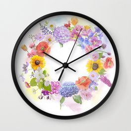arrangement of colorful flowers for background Wall Clock