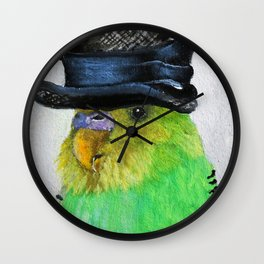 Parakeet Hat Parade #2 Roz Wall Clock