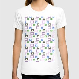 Geometrical lilac lavender blue forest green squares pattern T-shirt