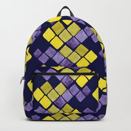 Mozaic pattern in faux gold, yellow, purple and navy indigo Backpack