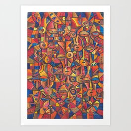 Faces VI painting from Cameroon, Africa Art Print