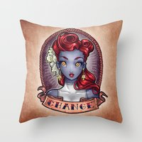 pinup Throw Pillows featuring CHANGE pinup by Tim Shumate