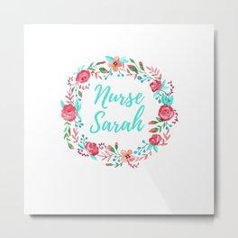 Nurse Sarah - Floral Wreath - Nurse Graphics Metal Print