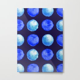 Winter Blue Watercolor Large Dots Pattern Metal Print