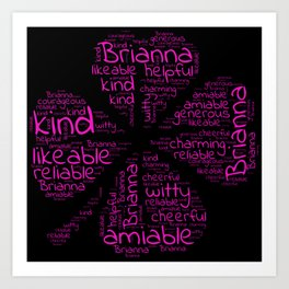 Brianna name gift with lucky charm cloverleaf word Art Print