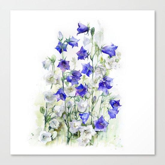 Bluebells watercolor flowers, aquarelle bellflowers Canvas Print