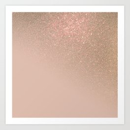 Diagonal Chic Gold Taupe Glitter Gradient Ombre Art Print
