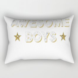 Men's Proud Dad of 2 Two Awesome Boys T Shirt (Father Papa Daddy) Rectangular Pillow