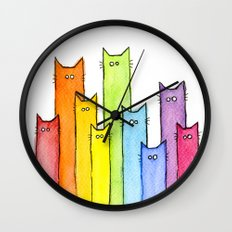 Rainbow of Cats Funny Whimsical Colorful Cat Animals Wall Clock