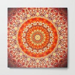 Orange Mandala Bohemian Decor Metal Print