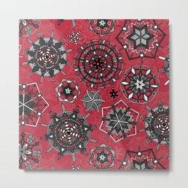 mandala snowflakes red Metal Print