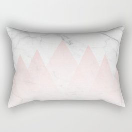 White Marble Background Pink Abstract Triangle Mountains Rectangular Pillow