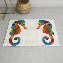 Colorful Seahorse Art by Sharon Cummings Rug
