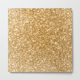 Trendy Gold Glitter Texture Print Metal Print