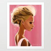 SEXY BLONDE & PINK Art Print