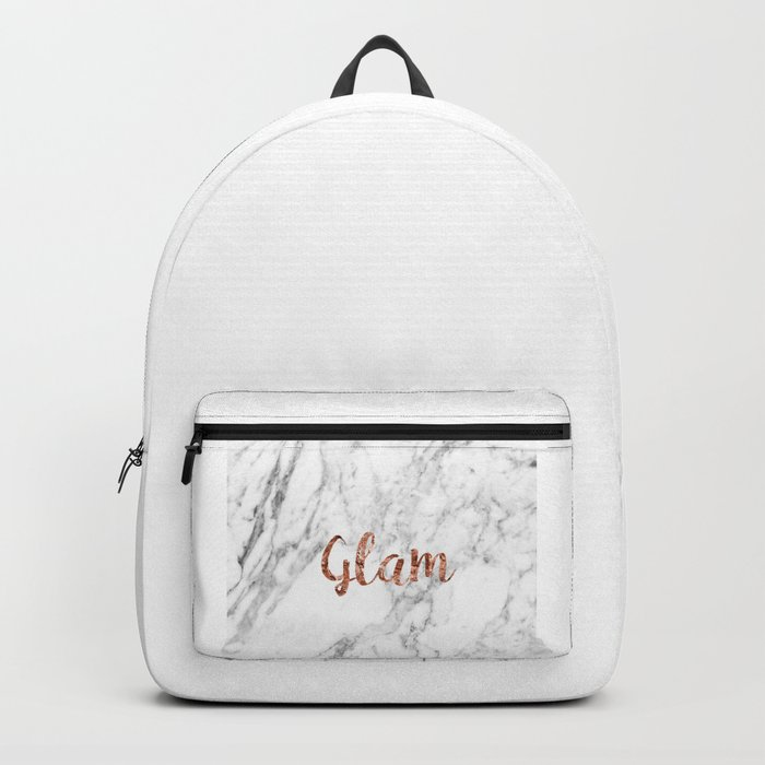 Rose gold on marble - glam Backpack