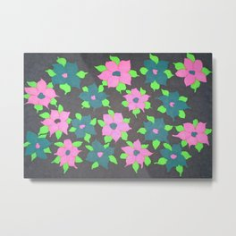Bold Flowers in Pink and Blue Metal Print