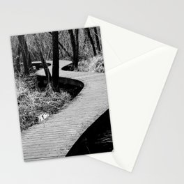 Walking across swamp | Footpath on shelves in black and white photography Stationery Cards