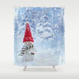 Red Cute Snowman frozen freeze Shower Curtain