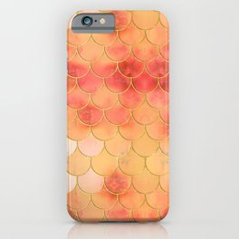 Apricot & Gold Mermaid Scale Pattern iPhone Case
