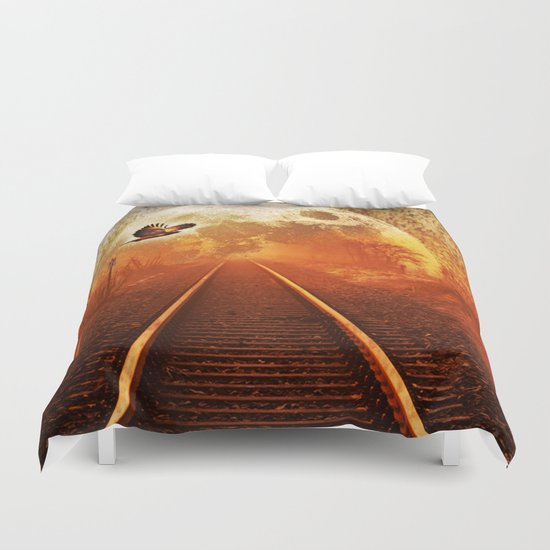 Railway to the moon Duvet Cover