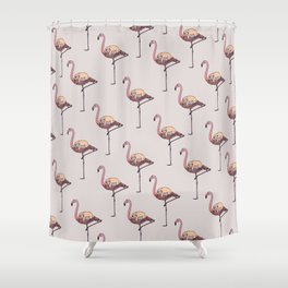 Flamingo and Sloth Shower Curtain