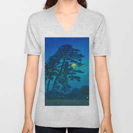 Vintage Japanese Woodblock Print Kawase Hasui Haunting Tree Silhouette At Night Moonlight Unisex V-Neck