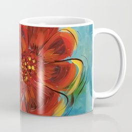 Hot Orange Flowers on Turquoise, Painting on canvas by Faye Coffee Mug