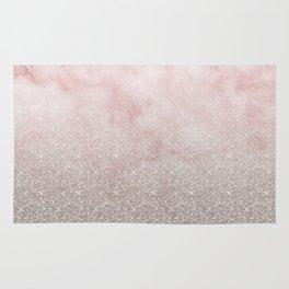Beige glitter gradient on cotton candy clouds Rug