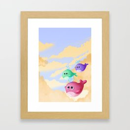 Tiny whales Framed Art Print