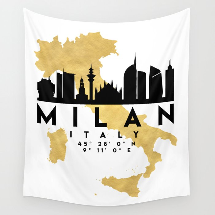 MILAN ITALY SILHOUETTE SKYLINE MAP ART Wall Tapestry by deificusart ...