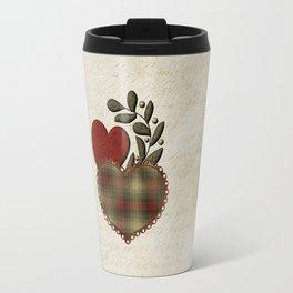 Red & Green Plaid Heart Love Letter Travel Mug