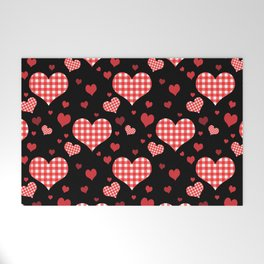 Red Gingham Hearts Welcome Mat
