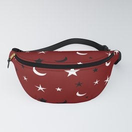 Red background with black and white moon and star pattern Fanny Pack