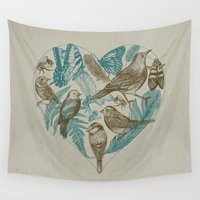 insects Wall Tapestries featuring Wild Heart by Rachel Caldwell