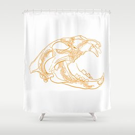 Lion skull with floral ornament Shower Curtain