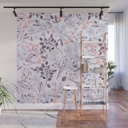 Hand painted modern pink lavender watercolor floral Wall Mural