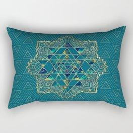 Sri Yantra  / Sri Chakra Gold, Marble and Teal Rectangular Pillow