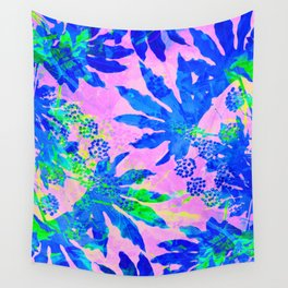 Tropical Adventure - Neon Blue, Pink and Green #tropical #homedecor Wall Tapestry