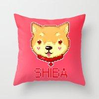 shiba inu Throw Pillows featuring SHIBA INU LOVE by giaj