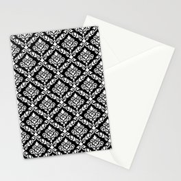 Prima Damask Pattern White on Black Stationery Cards