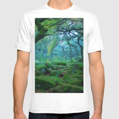 Forest #woods MEDIUM White Mens Fitted Tee