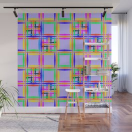 Oriental pattern of neon squares and curly crosses on a sea background. Wall Mural