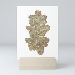 Longevity symbol - Chinese painted silk 'shou' character - auspicious calligraphy Mini Art Print