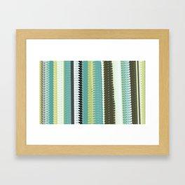 Green, Black, and Blue Woven Blanket Design Framed Art Print