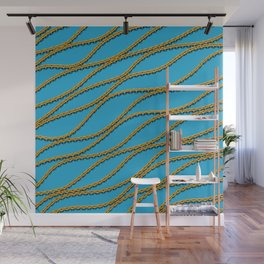 Wave Gold Chain Blue Wall Mural