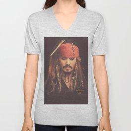 Jack Sparrow Digital Painting Unisex V-Neck