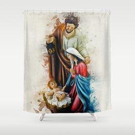 Joseph Mary and Jesus Shower Curtain