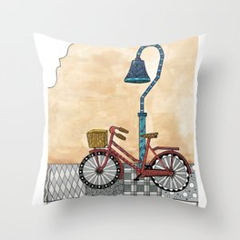 Bicycle on the El Camino Real Throw Pillow