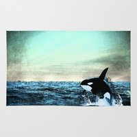 the whale Area & Throw Rugs featuring whale by ihavenonameandadress